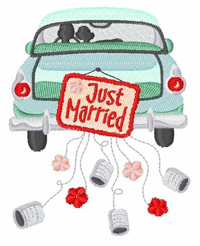 """Just Married Car embroidery design - 3.08"""" x 2.43"""""""