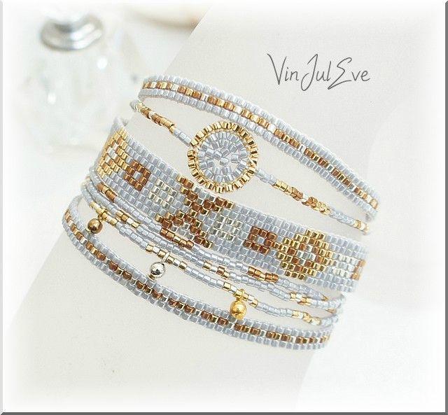 bracelet loom multi bandes gris or argent 1