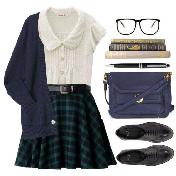ASOS, Topshop, Montblanc, school, uniform, preppy, plaid and cardigan