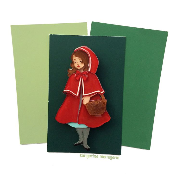 Red Riding Hood Vintage Inspired Fairy Tale Novelty Brooch by Tangerine Menagerie on Etsy