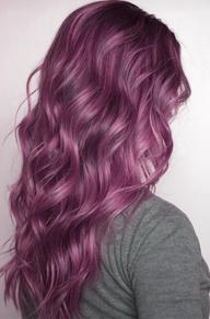 long lush plum colored wavy hair