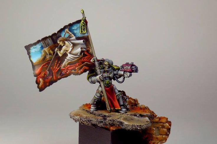 Warhammer 40k   Grey Knights   Champion - Standard Bearer #warhammer #40k #40000 #wh40k #wh40000 #warhammer40k #gw #gamesworkshop #wellofeternity #miniatures #wargaming #hobby #tabletop
