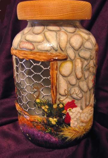 Cobblestone Cottage Chicken Coup - Painted Decorative Faux Craft Tole Painting on Glass Jars, Walls, Patio Floors, create Rock Homes and Stone Houses in the style of Thomas Kincaide, Thomas Kinkade, Thomas Kincade,