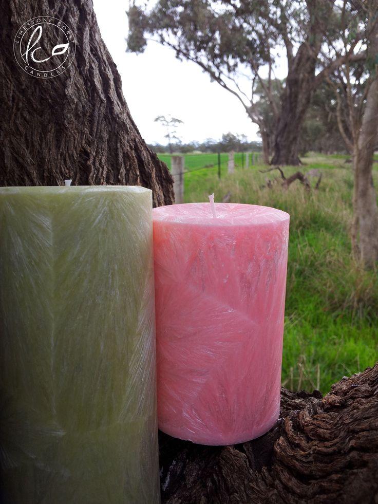 Large bergamot & tarragon tea with medium sweet pea vanilla. Textured pillar candles.