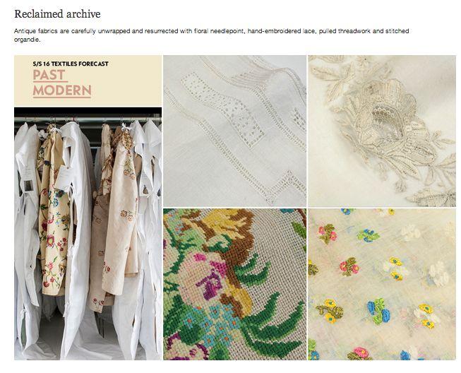 WGSN SS 16 Textiles Forecast - PAST MODERN