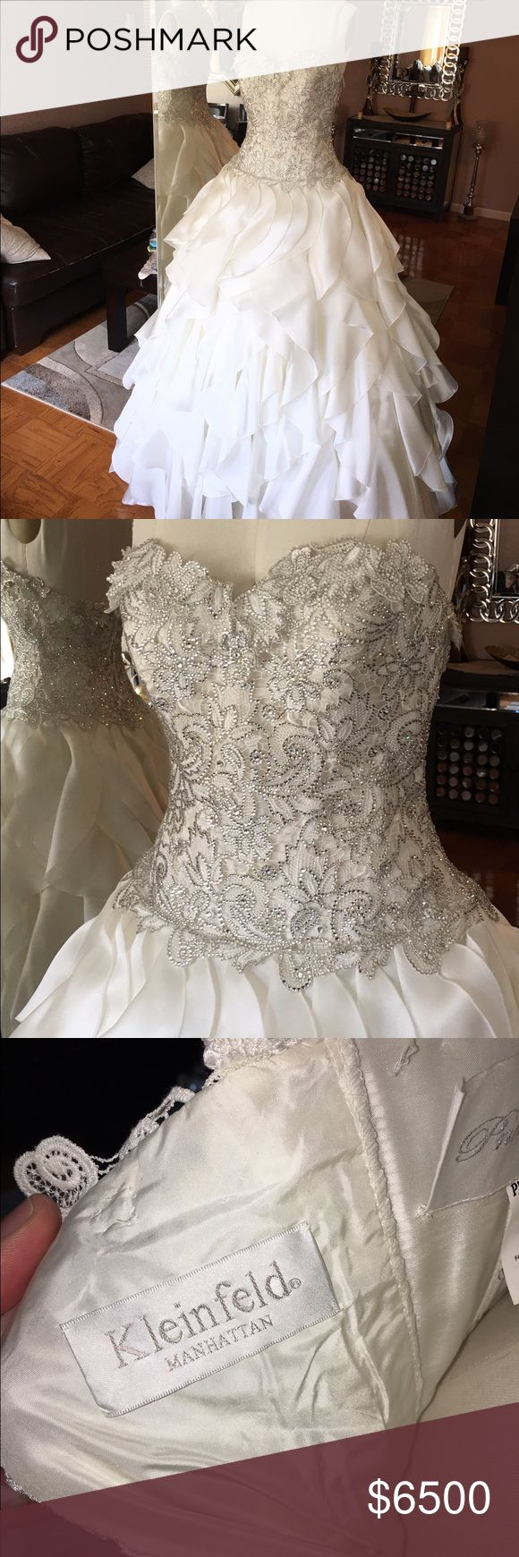 "Kleinfeld Wedding Dress Pnina Tornai . Size: Label: 16 Street: 10 Measurements: Bust: 40.5 Waist: 31 Hips: 42 Height With Shoes: 5' 9"" Details: Silhouette: Ball Gown Neckline: Sweetheart (Strapless) Waistline: Dropped Waist Sleeve Style: Strapless Back Style: Dress Length: Floor Length Color Family: Shades of Ivory Color: Ivory Seller is: Individual Original Owner: yes This beautiful Pnina Tornia ballgown is only available in Kleinfeld's bridal in New York. The dress is amazing and fit for a…"