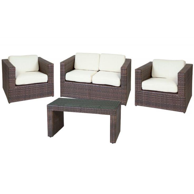 Benefit 4pcs garden seating group aluminum wicker rocky-brown pillow ecru