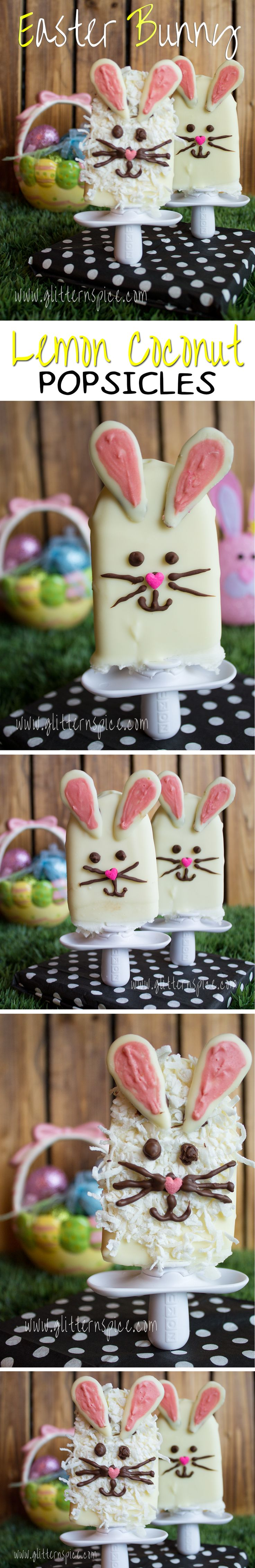 These Easter Bunny Lemon Coconut Popsicles are made with coconut milk, coconut, lemon juice and dipped into a creamy white chocolate magic shell coating - YUM!