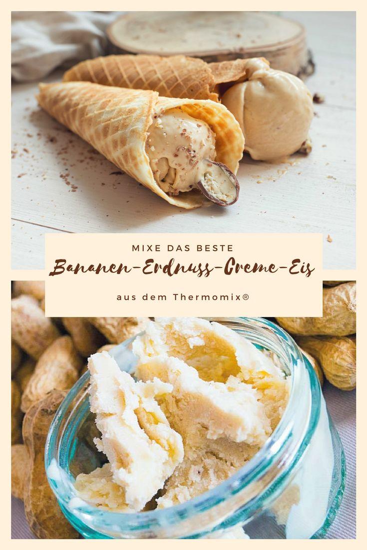 Dieses Bananen-Erdnuss-Creme-Eis aus dem Thermomix muss Du probiert haben. Es kann mit oder ohne Eismaschine hergestellt werden. Das Rezept ist für TM31 und TM5 geeignet. #willmixen #thermomix #eis #tm31 #tm5 #thermomixrezepte #thermomixrecipes #rezeptwelt
