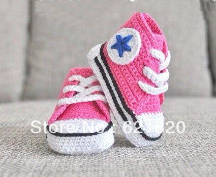 6b0571c26c2 15% off! pink - crochet baby sneakers with blue star- crochet baby shoes  .handmade shoes.china shoes.cheap.1pairs/2pcs | el işi göz nuru |  Schoentjes haken, ...