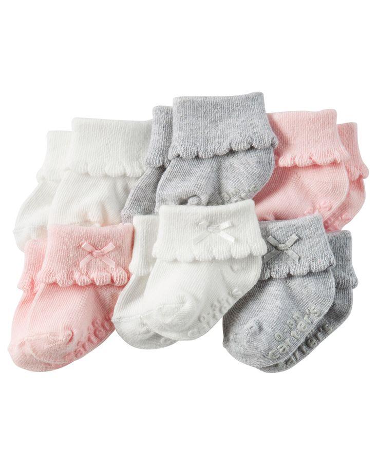 Baby Girl 6-Pack Booties | Carters.com
