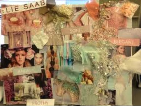 Another successful example of a mood board done by a fashion designer is the image above, which includes fabric samples, designer names, collaged images and beading swatches to precisely inform both the designer and the viewer of what the fashion collection will be inspired by. A strong sense of unity and harmony is evident in the mood board through the consistency of pastel colours as well as similar beading swatches.