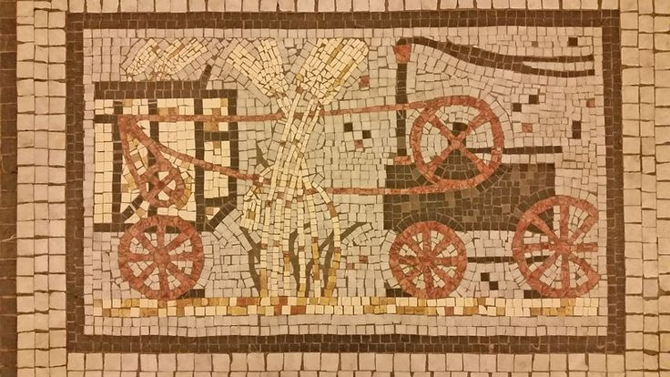 One of the floor mosaics in the Adria Palace. Many references to Insurance as it was built by an Italian Insurance Company.