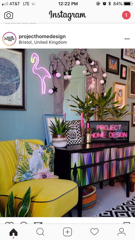 Neon lit living room