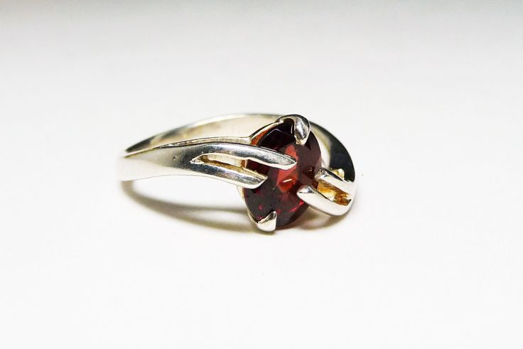 Silver Ring with Garnet Red Tourmaline Stone - Modernist Two Finger Type Diagonal Design
