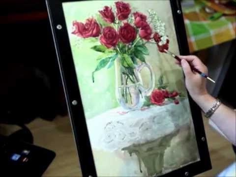 Watercolor lesson how to paint rose and glass by Mingming Bowerson (Part 3)