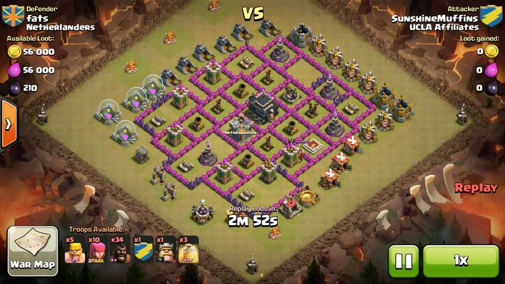 Attacker TH7: 34 Level 2 Hog Rider, 4 Level 5 Hog Rider, 5 Level 4 Barbarian, 10 Level 4 Archer, Level 5 Barbarian King, 3 Level 4 Healing Spell Defender TH9: Level 3 Barbarian King, Rank 9/20