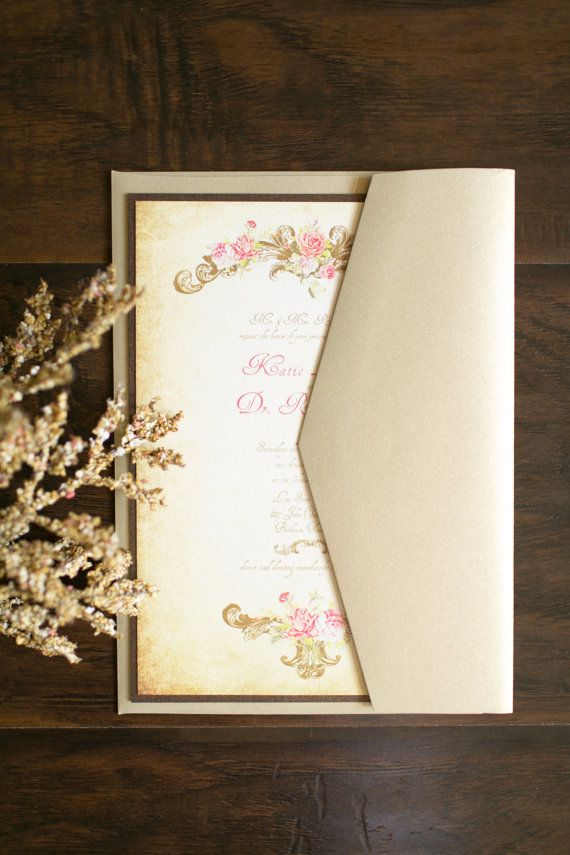 SUMMARY  This gold and bronze vintage victorian wedding suite romantic floral suite is perfect for the elegant bride.This set pairs easily with a pocket!  This invitation is 100% customizable. Colors, fonts, graphics, etc. can change partially or entirely. If you would like to add or subtract the envelope liner, enclosure band and monogram, layers or inserts, please message the shop…