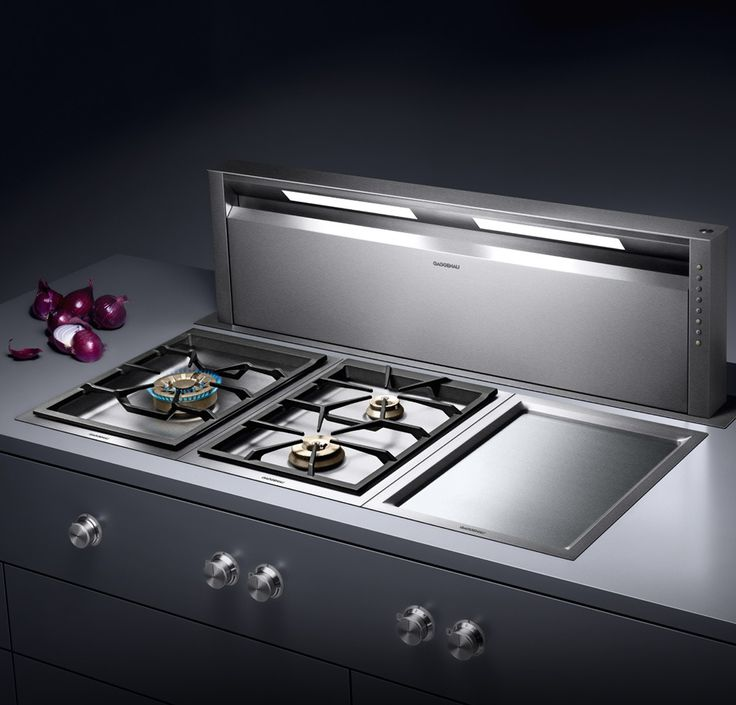 Gaggenau AL 400 telescopic table ventilation, completely retractable when not in use, with dimmable LED light for illumination of the whole cooktop