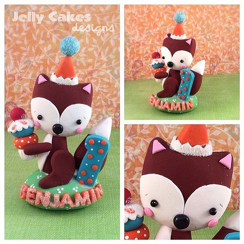 Little fox birthday cake topper by jelly cakes designs #polymerclay