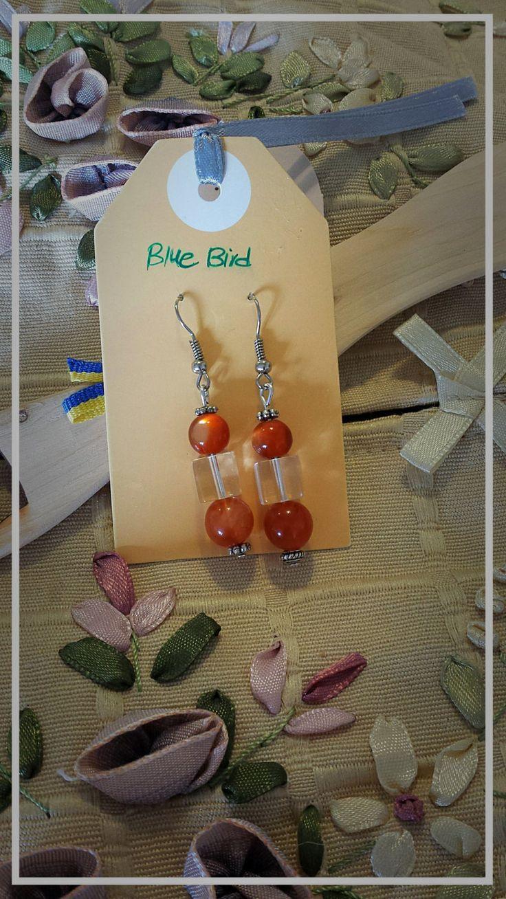 Shiny orange earrings by BlueBirdjewel on Etsy