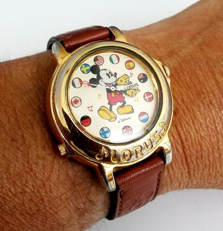Vtg Mickey Mouse Disney Lorus Musical Wrist Watch V421 World Flags | Collectibles, Disneyana, Contemporary (1968-Now) | eBay!