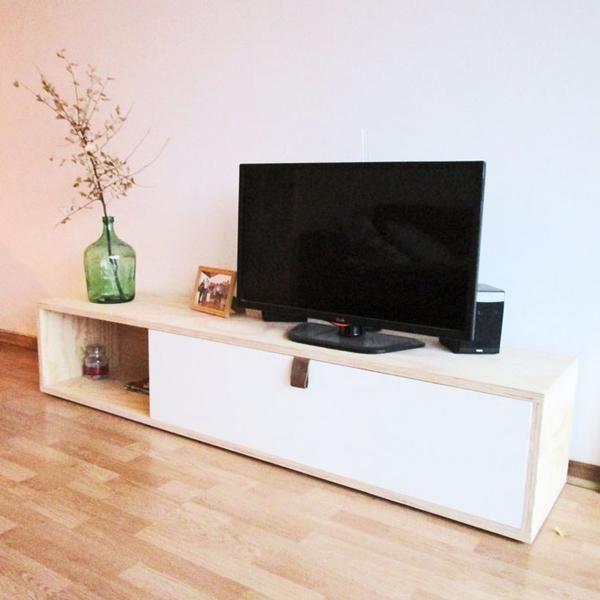 RACK TV 35x180x40cm Estructura Terciado Mueblería y Puerta MDF Melamina #interiordesign #furniture #hechoenchile