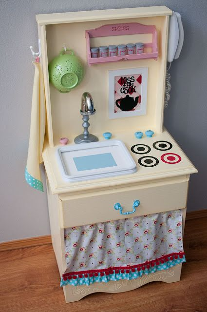 Play kitchens are imaginative and fun spaces for kids to cook up all sorts of pretend play. Customize one to suit your taste and budget with these inspiring DIY projects that your little chef will love!
