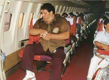 Andre The Giant flying out of Japan 1980