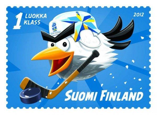 Un timbre finlandais Angry Birds pour les Championnats du Monde de Hockey 2012 © Suomi Finland, DR.