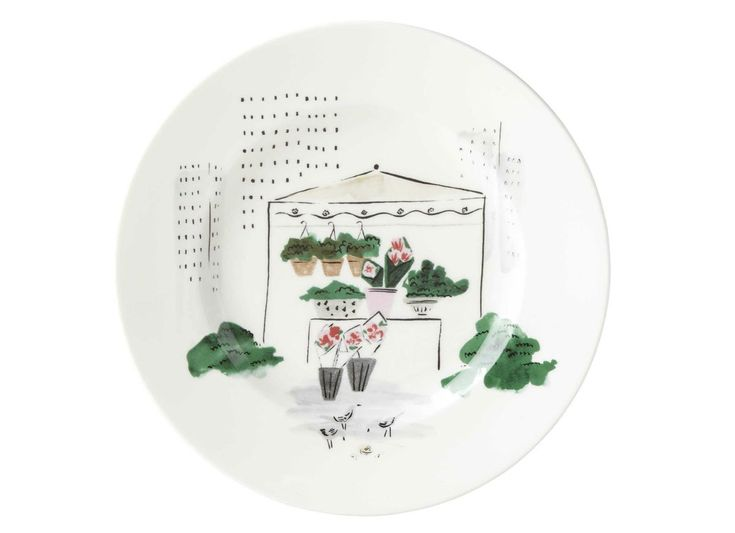 This accent plate from Kate Spade brings an iconic Big Apple site, the Union Square farmer's market, to your dining table.