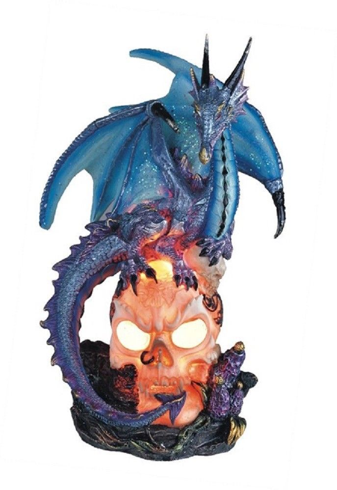 Blue Dragon on LED Light Up Skull Head Medieval Fantasy Figurine Decoration New offered by decorationwarehouse on eBay