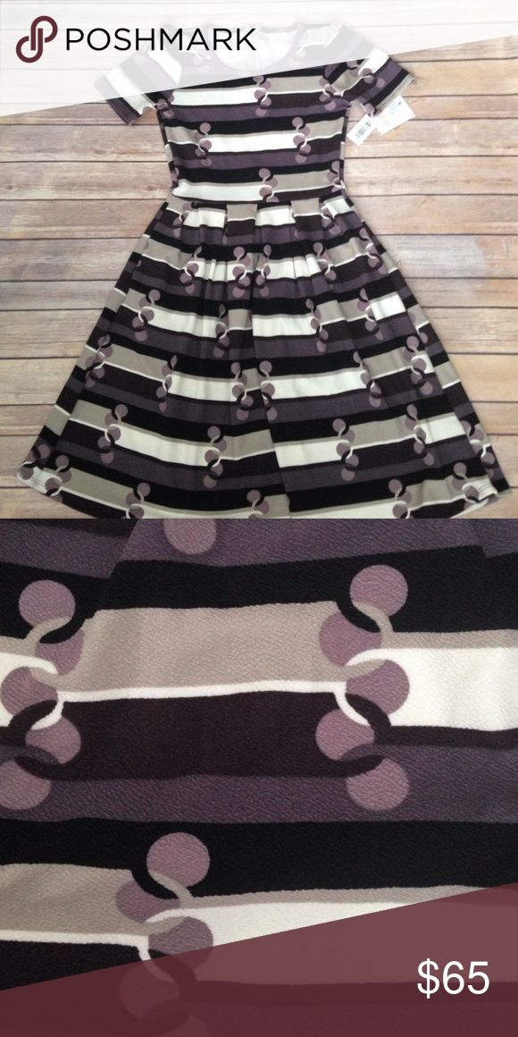 💜LuLaRoe Small Amelia💜 NWT Small Amelia. Purples, gray, black and white in…