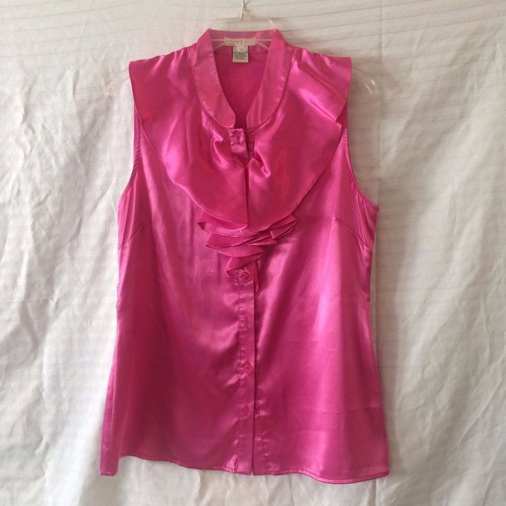 Hot Pink Blouse Ruffles Sleeveless Stretch by Vertigo Paris Size L WOW #VertigoParis #Blouse