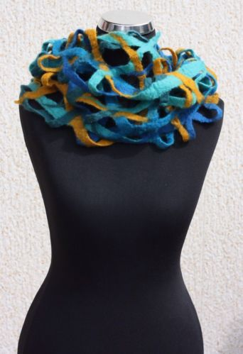 Unique handmade felted multicolored Merino wool neck warmer