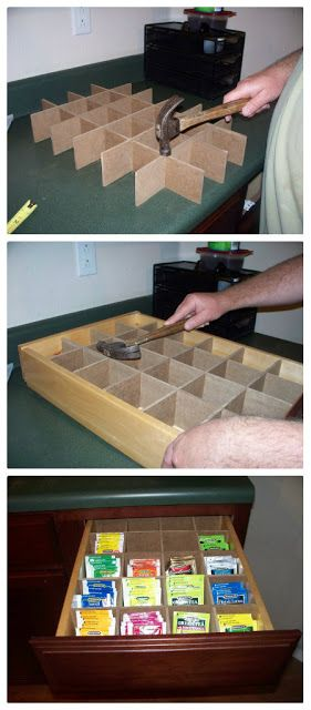 DIY Tea Drawer - could fit to any box, too. Make room for Apple cider and cocoa packets
