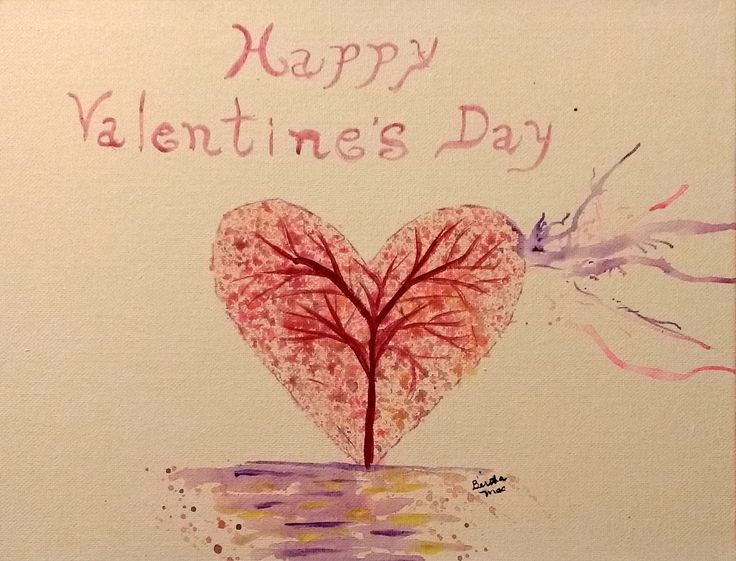 4 x 5 1/2 greeting card. Watercolor inspired by tutorial by The Art Sherpa, Cinnamon Clooney Feb 2016. Online Valentine's greeting