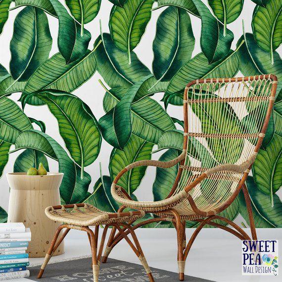 Banana Leaf Removable Wallpaper Tropical Wallpaper Botanical Self Adhesive Floral Wallpaper B163 27 In 2021 Banana Leaf Wallpaper Leaf Wallpaper Temporary Wallpaper