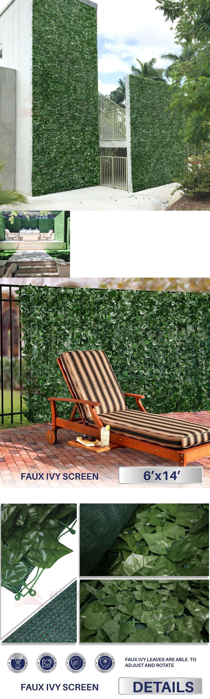 Floral D cor 4959: Artificial Ivy Leaf Hedge Mat Fence Fake Plant Grass Wall Outdoor Topiary Panels -> BUY IT NOW ONLY: $86.36 on eBay!