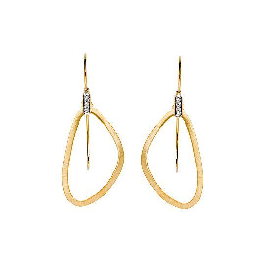 Gold 585 satin matte earrings