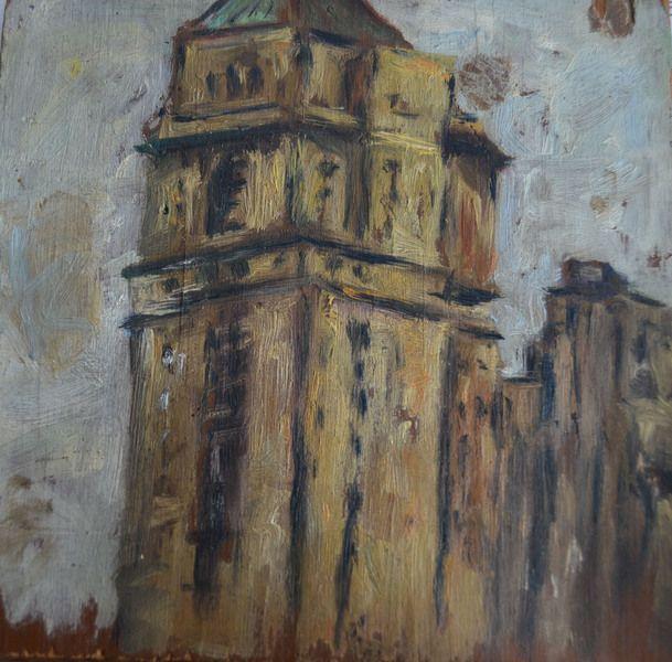 Pintura al óleo - Building NY - hecho a mano por kodina en DaWanda