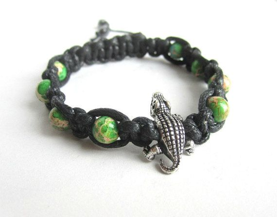 Mens shamballa bracelet mens crocodile bracelet by Bravemenjewelry