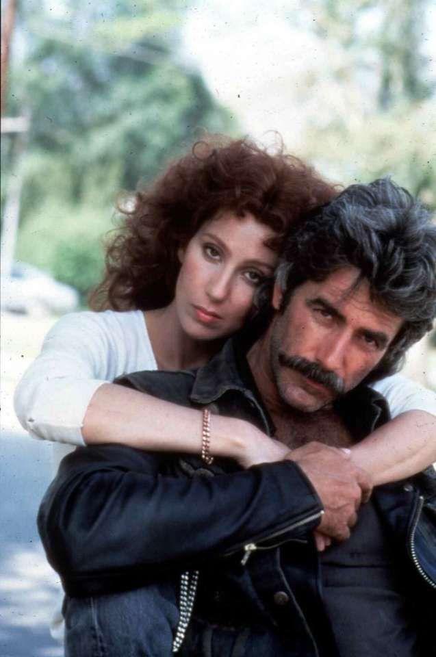 "Cher with Sam Elliott in the 1985 film ""Mask."""
