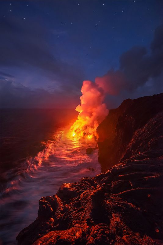 Newest land on earth is formed by the lava on Big Island, Hawaii.