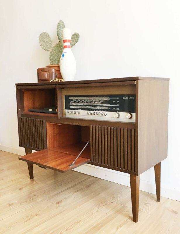 Radio Meubel Jaren 60.Tof Vintage Audio Radio Meubel Kekke Houten Retro Kast