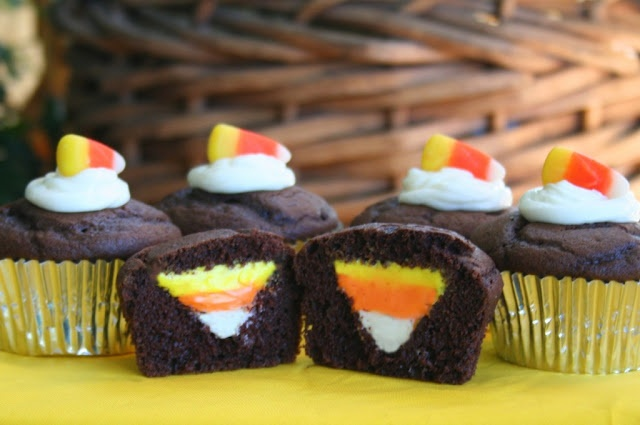upside down candy corn cupcakes | holidays | Pinterest
