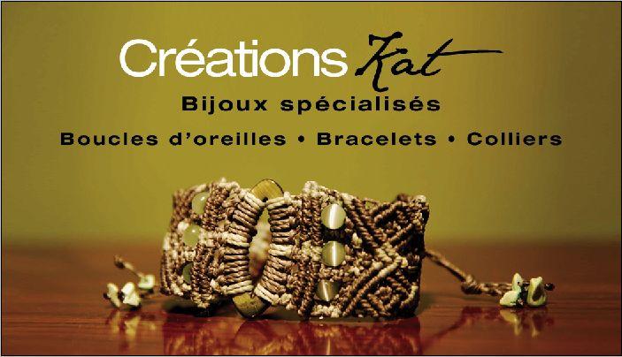 Carte d'affaire Créations KAT, bijoux spécialisés, bijoux de fantaisie, bijoux artisanaux, macramé, semi-précieuse www.katietheriault.blogspot.com