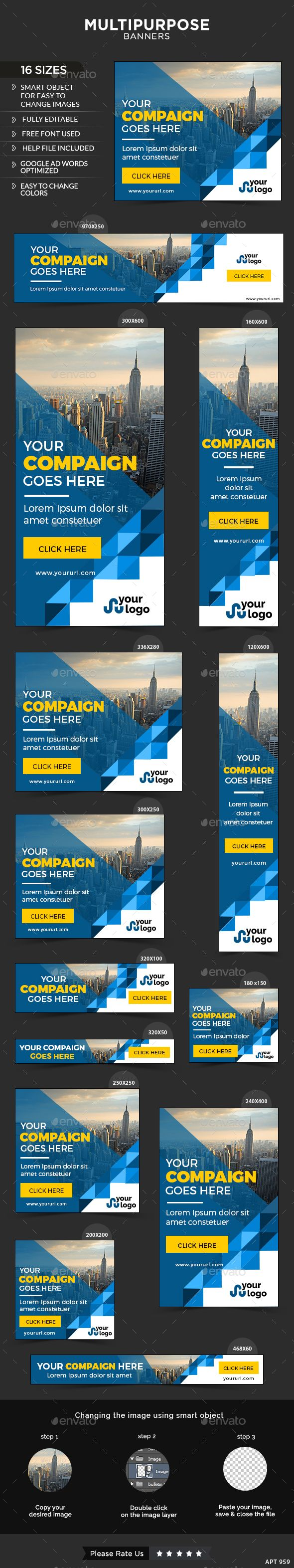 Multipurpose Web Banners Template PSD #design #ad Download: http://graphicriver.net/item/multipurpose-banners/13376637?ref=ksioks