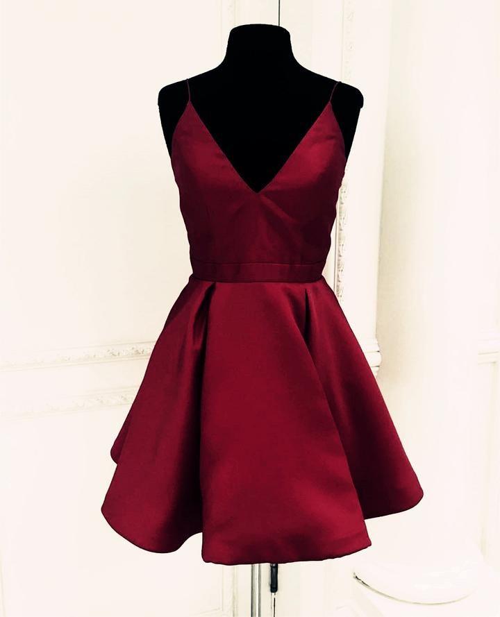 b770ef5c6ad Dresses Video Shows Item Description   Simple But Elegant V-neck Satin Short  Dresses For Prom