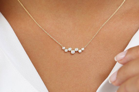 Diamond Necklace / 14k Gold Necklace / Floating Diamonds Necklace / Diamond Bubble Pendant / Birthday Gift for Her / Valentines Day Gift